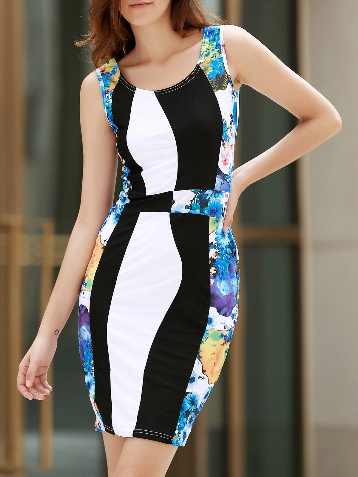 Scoop Neck Sleeveless Floral Print Slimming Women's Dress - COLORMIX S