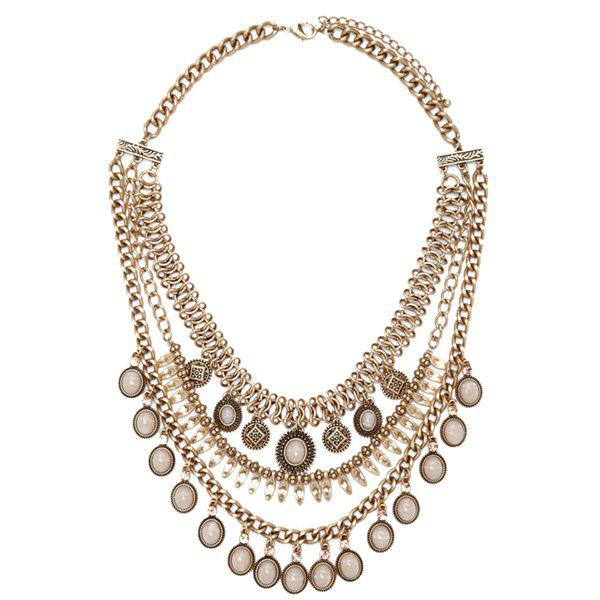 Graceful Multilayered Faux Opal Necklace For Women - GOLDEN