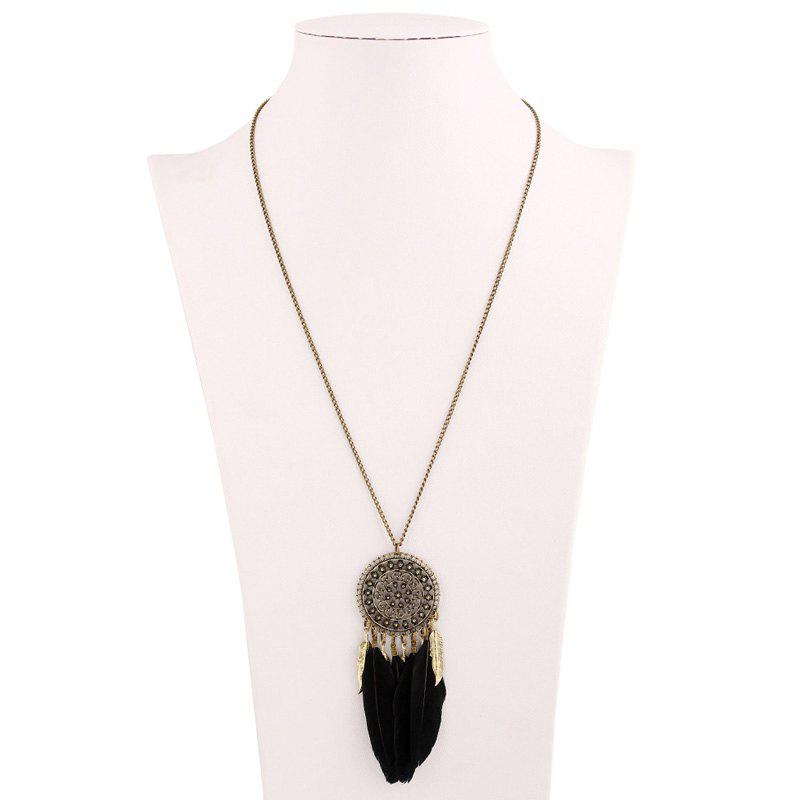 Bohemia Round Feather Tassel Sweater Chain - BLACK