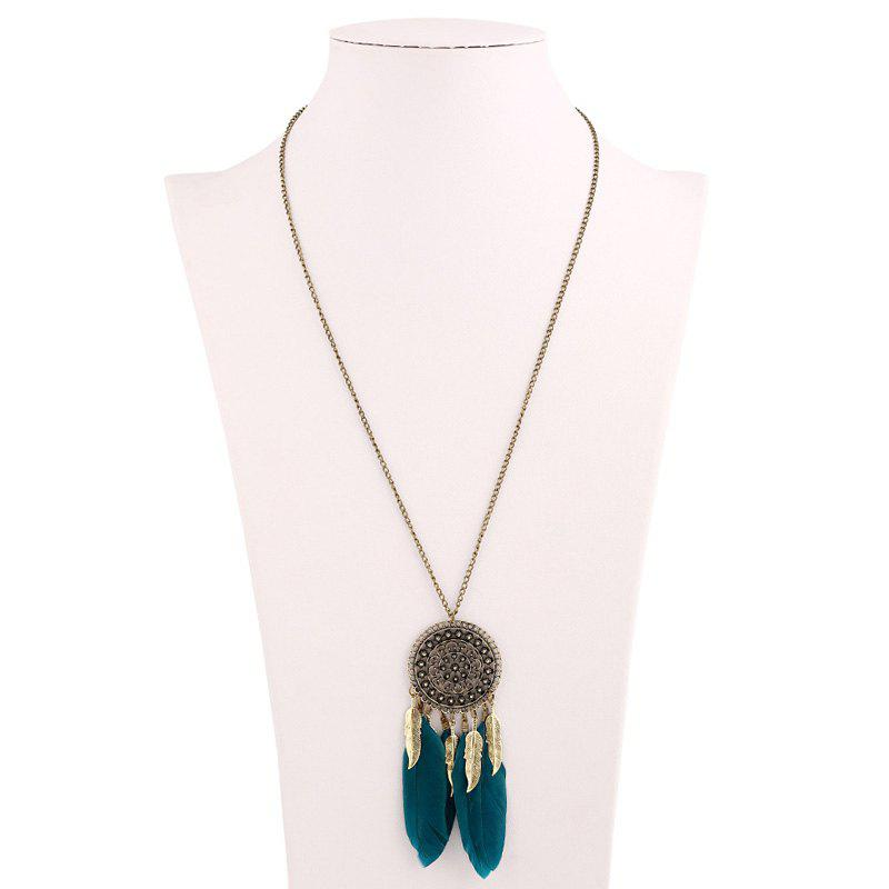 Bohemia Round Feather Tassel Sweater Chain - Vert Foncé