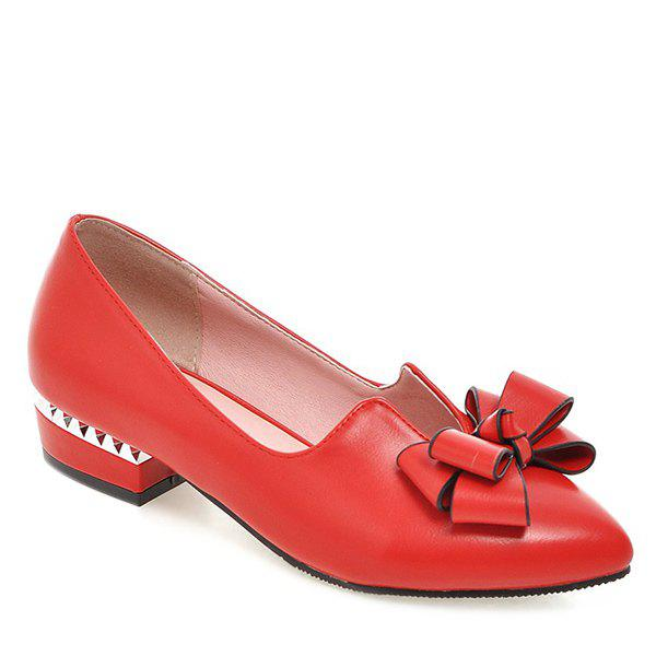 Casual PU Leather and Bow Design Women's Flat Shoes