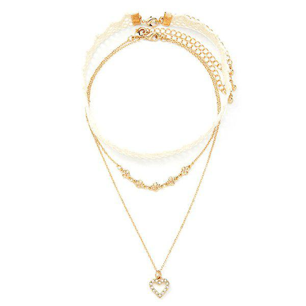 A Suit of Gorgeous Rhinestone Heart Necklaces For Women - GOLDEN