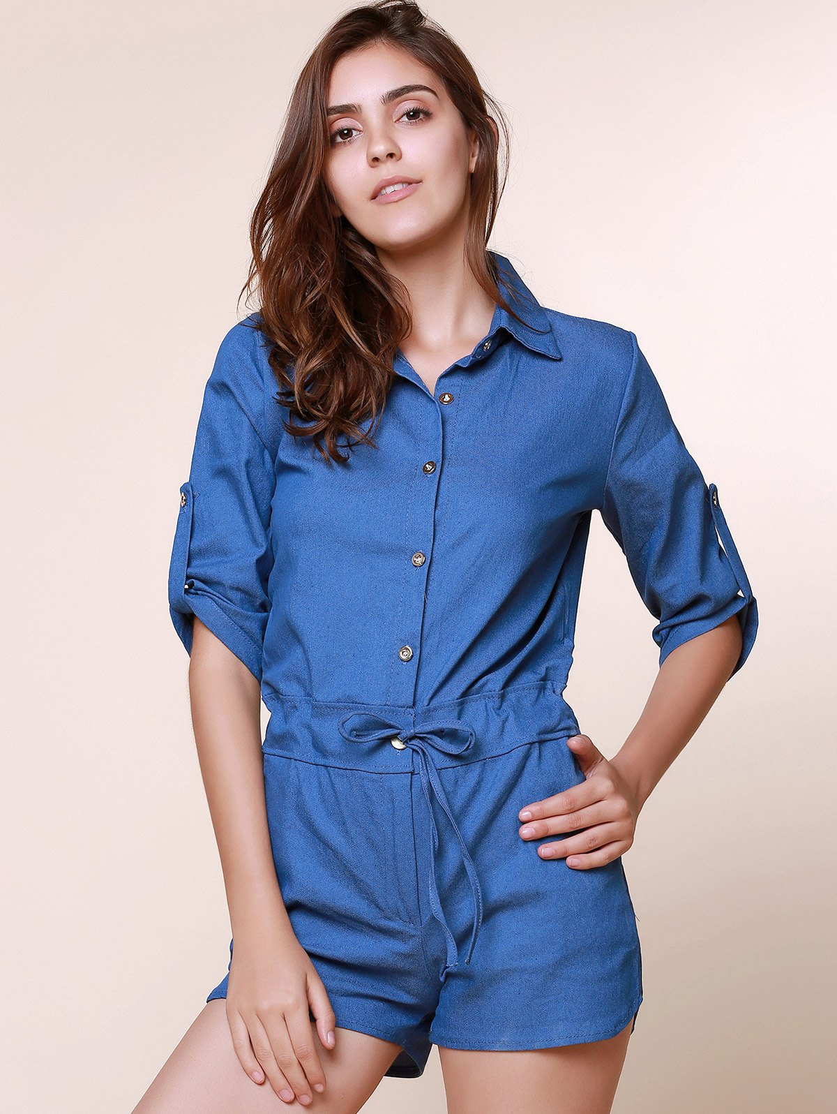 Vintage Shirt Collar Pure Color 3/4 Sleeve Lace-Up Jeans Romper For Women - AS THE PICTURE S