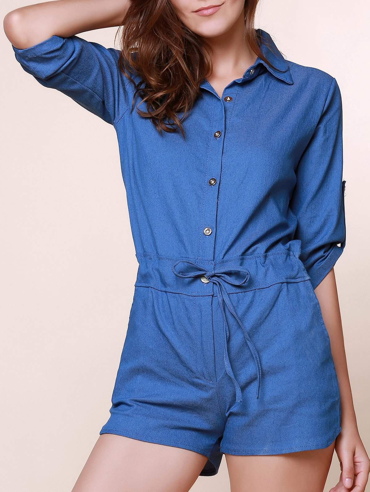 Vintage Shirt Collar Pure Color 3/4 Sleeve Lace-Up Jeans Romper For Women - AS THE PICTURE L