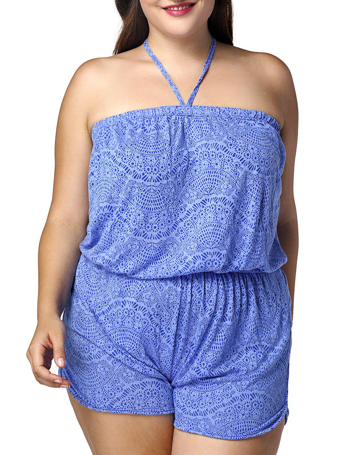 Casual Plus Size Printed Halter Women's Romper - AZURE 2XL