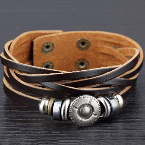 Chic Retro Leather Chain Layered Bracelet For Men - BLACK