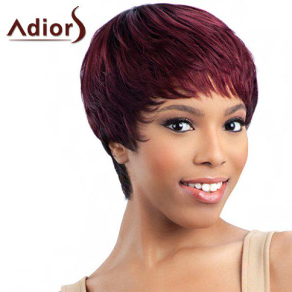 Outstanding Wine Red Straight Synthetic Ultrashort Layered Capless Adiors Wig For Women