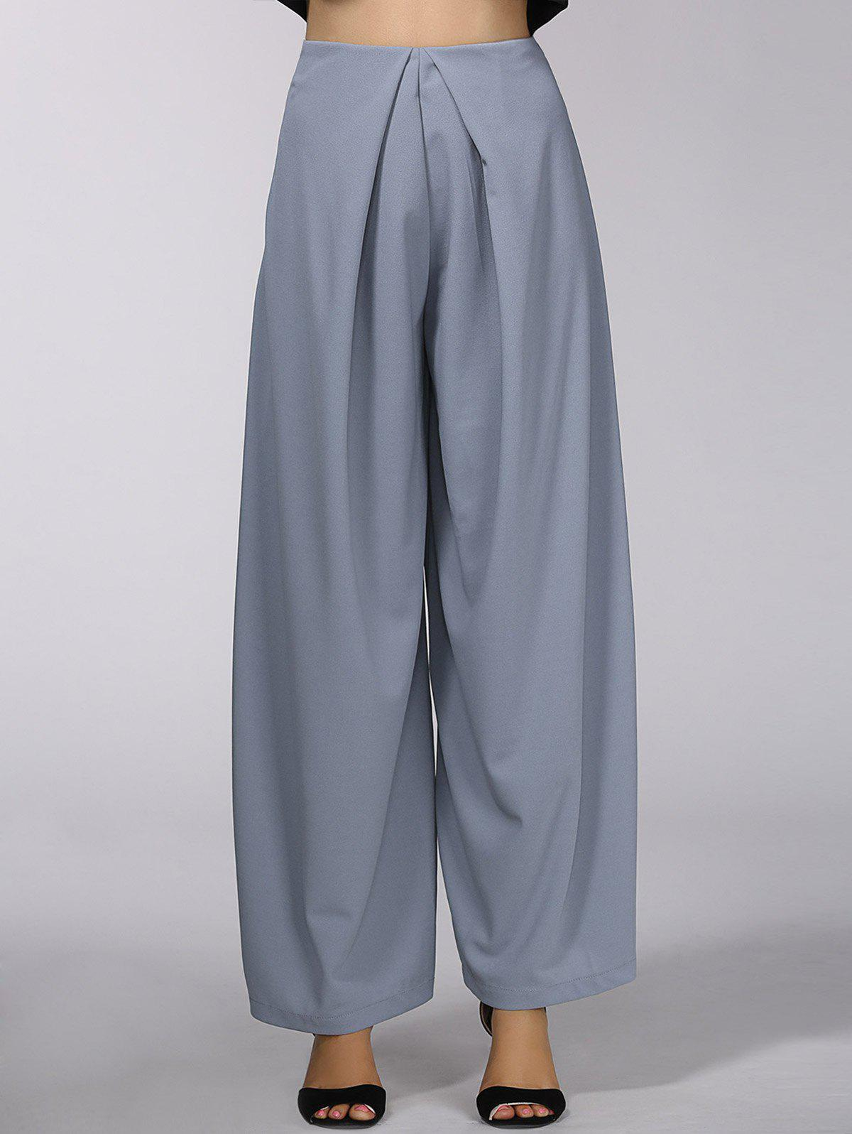 Stylish High Wasit Solid Color Wide-Leg Pants For Women - DEEP GRAY S