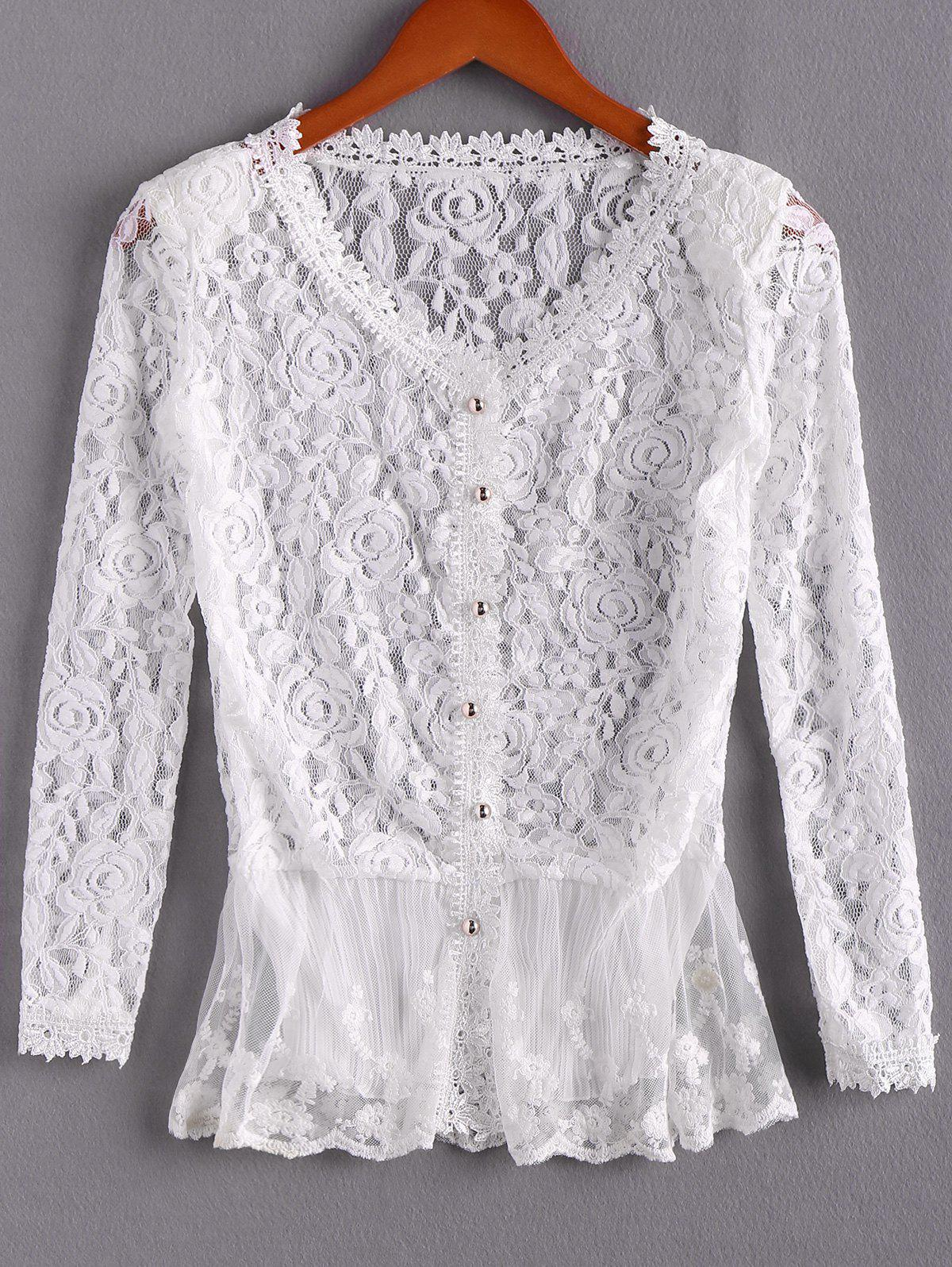 Elegant Openwork Long Sleeves Flouce Lace Women's Blouse - IVORY ONE SIZE(FIT SIZE XS TO M)