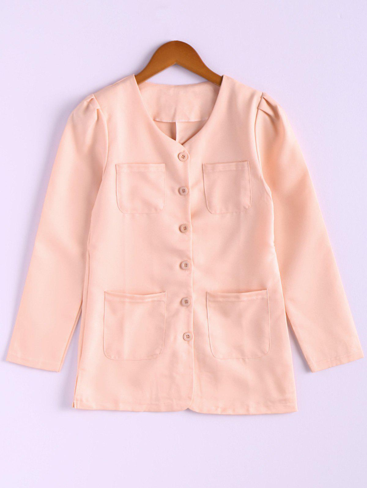 Casual Style Scoop Neck Candy Color Puff Sleeve Cotton Women's Coat - ONE SIZE PINK