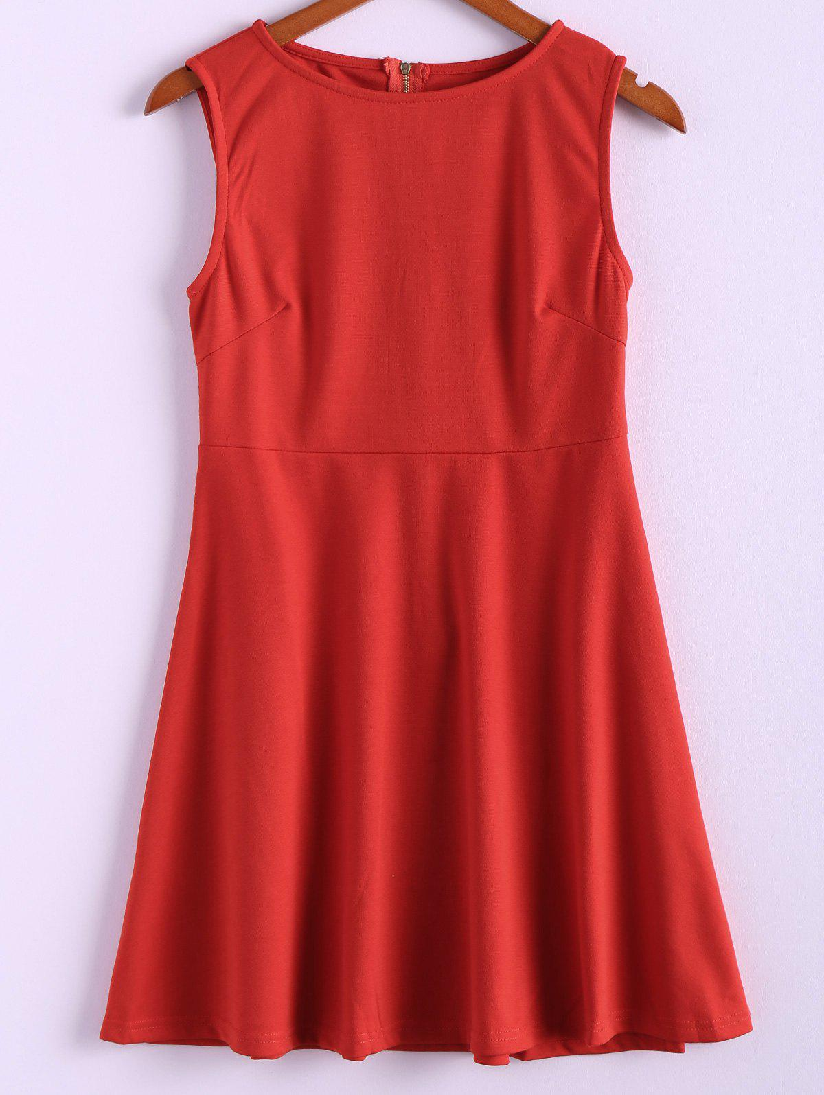 Simple Style Polyester Round Neck Zipper Sleeveless Women's Dress (Without Belt) - RED M