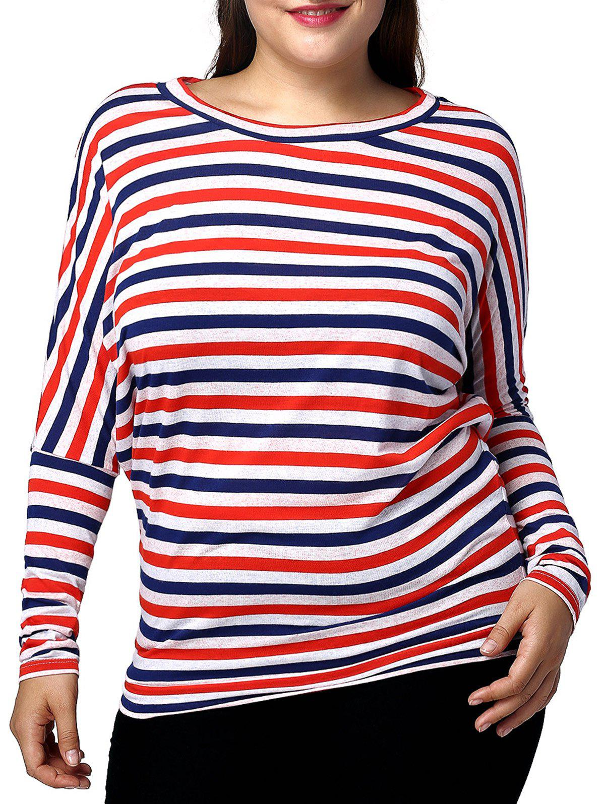 Casual Plus Size Striped Batwing Sleeve Women's T-Shirt