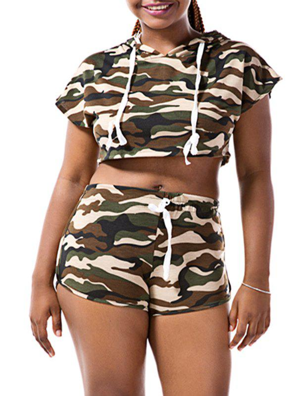 Stylish Batwing Sleeve Hooded Camo Crop Top and Camo Shorts Twinset For Women