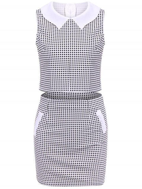 Women'sTrendy Peter Pan Collar Checked Sleeveless Suit - CHECKED M