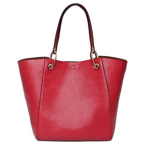 7a1e7721ee86 Casual Mega Ring and Solid Color Design Women s Shoulder Bag - RED