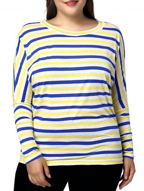 ecfd99227 Casual Plus Size Striped Pattern Batwing Sleeve Women's T-Shirt - COLORMIX  2XL