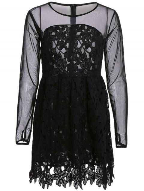 Stylish Round Collar Lace Floral Embroidery Long Sleeve Dress For Women - BLACK S