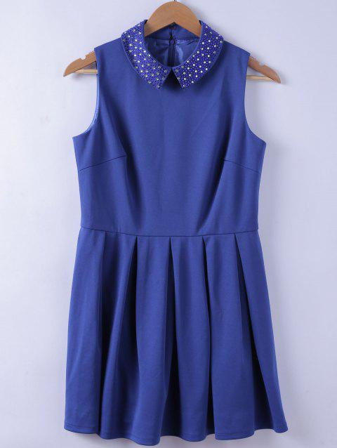 Chic Studs Embellished Turn-down Collar Women's Blue A-line Dress - BLUE L
