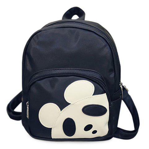 Casual Hit Colour and Panda Pattern Design Women's Backpack - BLACK