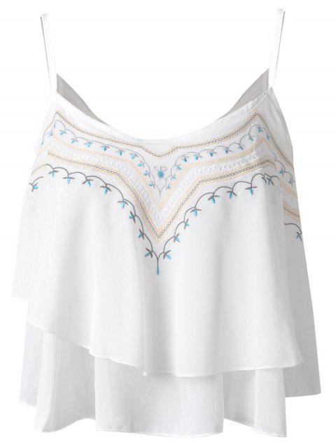 95ee133ab5f48 Ethnic Style Embroidery Spaghetti Strap Chiffon Tank Tops For Women - WHITE  ONE SIZE(FIT