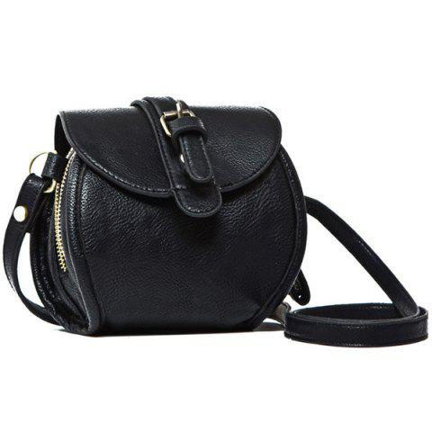 Simple Buckle and Solid Color Design Women's Crossbody Bag - BLACK
