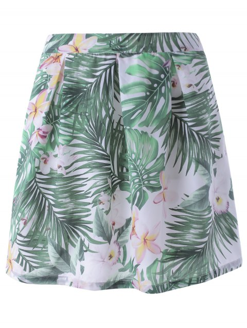 Stylish Floral Print A- Line Skirt  For Women - COLORMIX M