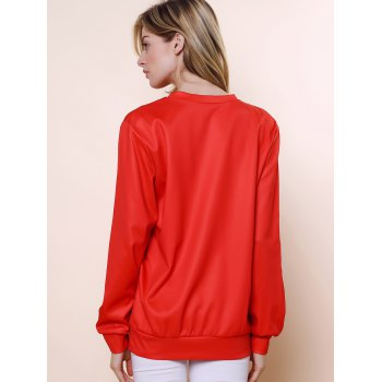 Sweet Cartoon Pattern Jewel Neck Long Sleeve Sweatshirt For Women - RED ONE SIZE(FIT SIZE XS TO M)