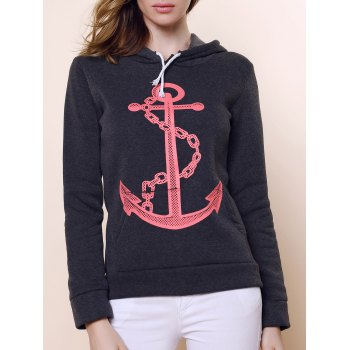 Casual Anchor Print Hooded Long Sleeve Hoodie For Women