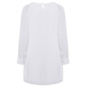 Slim Fit Scoop Neck Simple Long Sleeves Chiffon Women's Dress - WHITE ONE SIZE