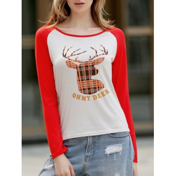 Christmas Women's Slash Neck Long Sleeve Deer Pattern T-Shirt