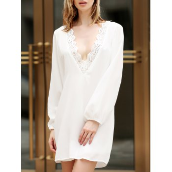 Sexy V Neck Long Sleeve Backless Chiffon Women's White Dress