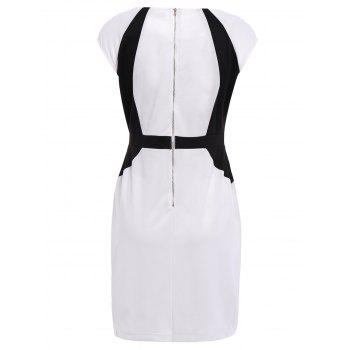 Modern Style Sleeveless Polyester Color Block V-Neck Women's Dress - WHITE/BLACK L