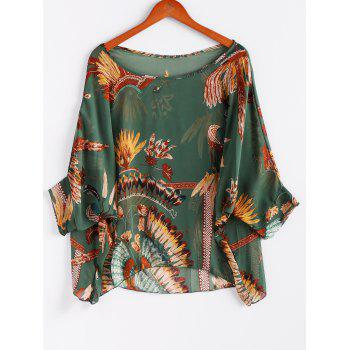 Chiffon Bohemian Style Color Block Loose-Fitting Comfortable Blouse - GREEN GREEN