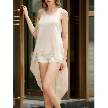 Stylish Solid Color Sleeveless Asymmetric Ruffled Tank Top For Women
