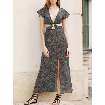 Trendy Plunging Neck High Slit Printed Cut Out Women's Dress