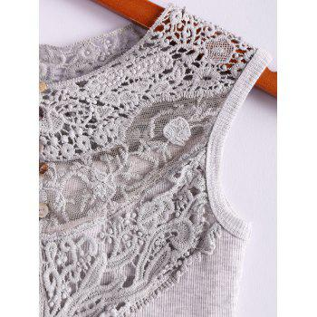Cotton Blend Scoop Neck Sleeveless Sweet Style Lace Splicing Women's Vest - GRAY ONE SIZE