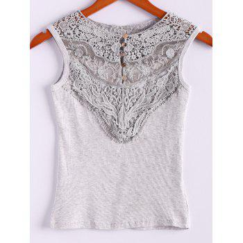 Cotton Blend Scoop Neck Sleeveless Sweet Style Lace Splicing Women's Vest