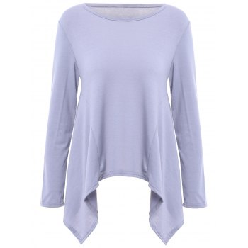 Charming Scoop Neck Solid Color Asymmetric T-Shirt For Women - GRAY S