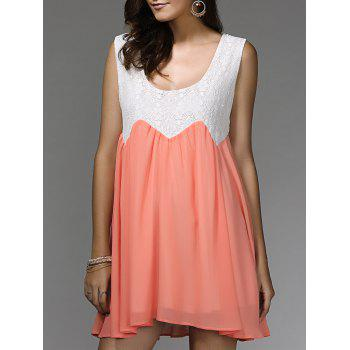 Sleeveless Lace Panel Mini Dress