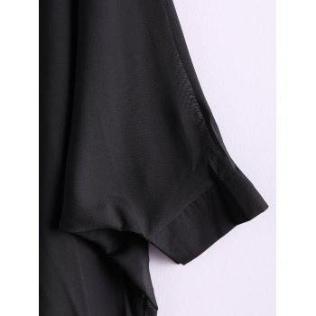 Charming and Perspective Asymmetrical Hem Bat Sleeve Chiffon Shirt For Women - BLACK BLACK