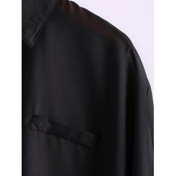 Charming and Perspective Asymmetrical Hem Bat Sleeve Chiffon Shirt For Women - ONE SIZE ONE SIZE