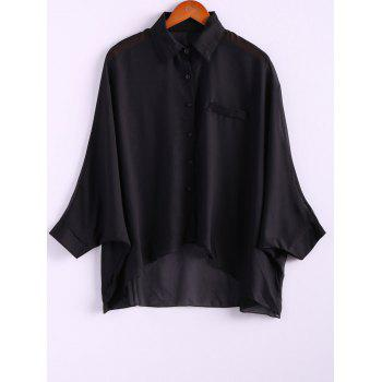 Charming and Perspective Asymmetrical Hem Bat Sleeve Chiffon Shirt For Women - BLACK ONE SIZE