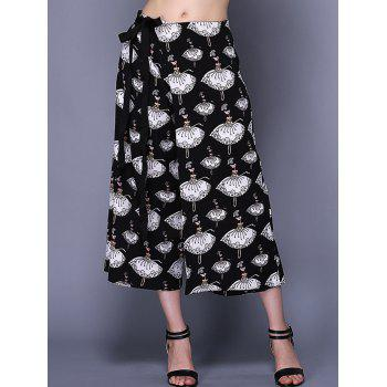 Trendy Cartoon Print High-Waisted Women's Wide Leg Pants