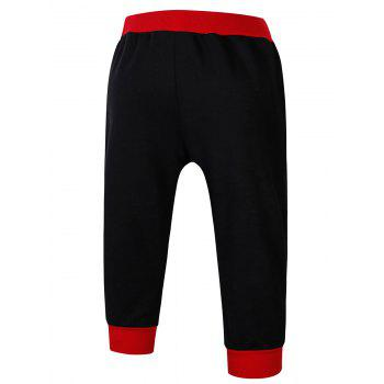 Lace-Up Color Block Letters Print Beam Feet Jogger Shorts - RED 2XL
