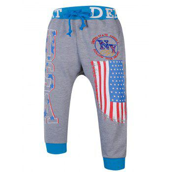 Lace-Up Color Block Spliced Flag and Letters Print Beam Feet Men's Jogger Shorts