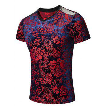Tribal Print PU Leather Spliced V-Neck Short Sleeves Men's T-Shirt