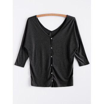 V-Neck Three Quarter Sleeve Gray Women's Cardigan