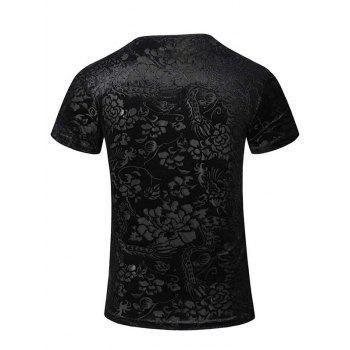 New Style V-Neck Floral Print PU Leather Spliced Men's Short Sleeves T-Shirt - BLACK M
