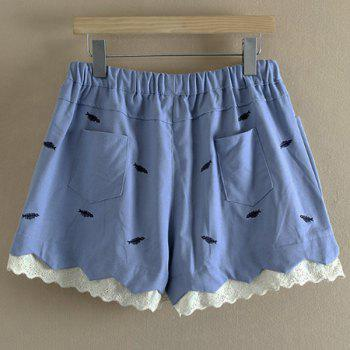 Sweet Style Mid Waist Fish Embroidered Laciness Women's Shorts - 3XL 3XL