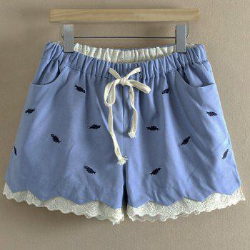 Sweet Style Mid Waist Fish Embroidered Laciness Women's Shorts - LIGHT BLUE 3XL